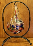 Black Oval Blown Glass Ball & Ornament Stand