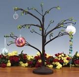 Small Metal Tree with Glass Leaves Blown Glass Ball & Ornament Stand