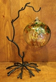 Tree Blown Glass Ball & Ornament Stand