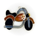 Motorcycle woth Falmes Stained Glass Nightlight or Suncatcher